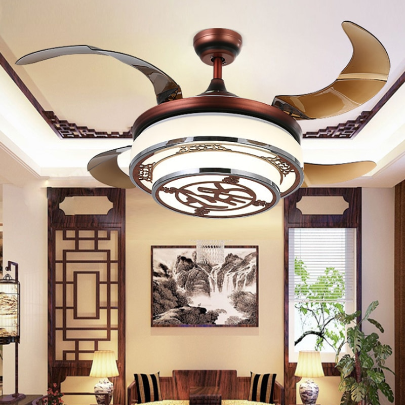 Chinese Style Ceiling Fan Hidden Blades Y4220 Red Body Retractable Blades Creative Design Ceiling Fan Lamp Buy Products Online With Ubuy Maldives In Affordable Prices 32833121629