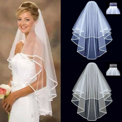 Kelaixiang Wedding Veils with Shinning Beads Sequins Cathedral Bridal Veils Comb