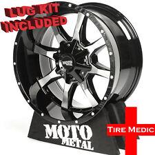 """20/"""" Moto Metal MO970 Black Milled Wheel 20x9 6x120 6x5.5 18mm Chevy GMC Truck"""
