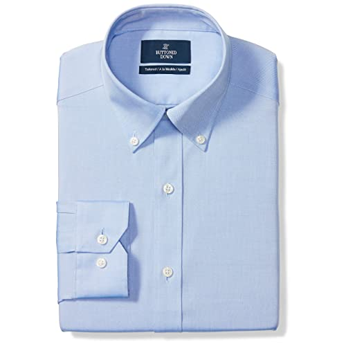 Supima Cotton Non-Iron BUTTONED DOWN Mens Tailored Fit Button-Collar Solid Pinpoint Dress Shirt Brand