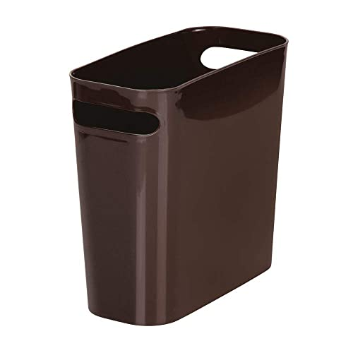 mDesign Slim Plastic Rectangular Small Trash Can Wastebasket 10 High Dorm Shatter-Resistant Kitchen Kids Room Home Office Slate Gray Garbage Container Bin with Handles for Bathroom