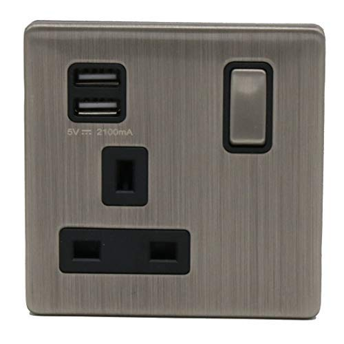 LIPWEL 4* Wall 2 Ways Electrical Outlets Double Switched Power Socket with USB