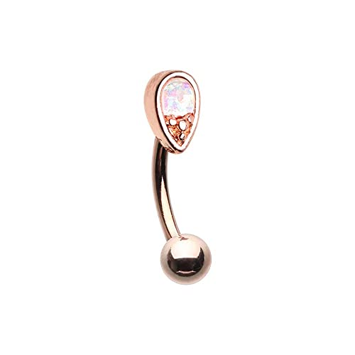 14G Golden Synthetic Opal Elegance Inspiration Dezigns Belly Button Ring