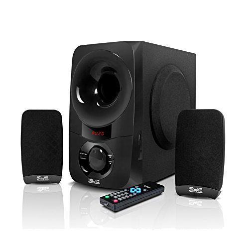 1x 6.5 Sub Driver- LED Display- Black Klip Xtreme Mirage 5.1 Channel Stereo System with Subwoofer- 300 Watt Peak 115W RMS Power- Compatible with Bluetooth 3.5mm- 6X 3 Drivers Micro-SD USB
