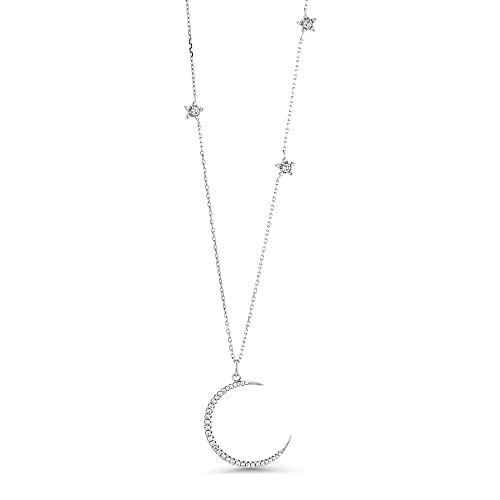 16 length sterling silver crescent moon necklace