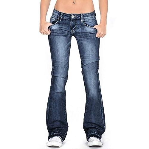 Handyulong Womens Juniors Bell Bottom High Waist Fitted Denim Jeans Plus Size Stretchy Denim Pants Flare Sweatpants