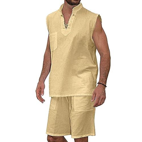 2-Piece Suit Mens Fashion T-Shirt Tee Hippie Shirts Short Sleeve Beach Shirt Shorts Suit