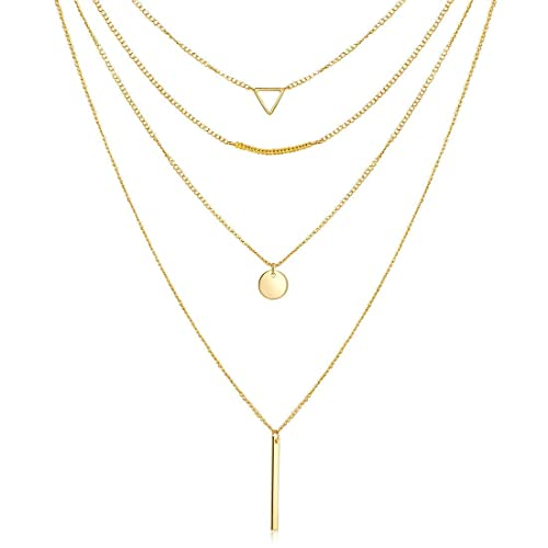 Boho Multi-Layered Medallion Disc Coin Pendant 14K Gold Plated Dainty Chain Layering Choker Necklace for Women Girls Jewelry Valentines JUSZXY Gold Layered Necklace