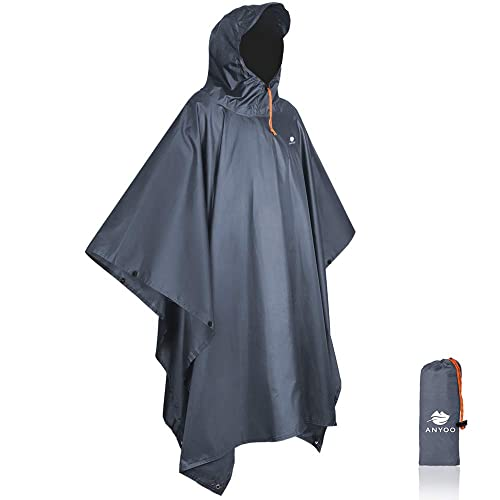 Hooded Poncho Rain Coat Waterproof Festival Camping Hiking Fishing Cape Navy