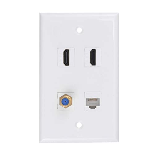 Coaxial Cable TV F Type Keystone Face Plate. Brush Wall Plate 2 Gang,IQIAN 3 CAT6 Wall Plate RJ45 Ethernet