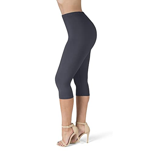 One Size /& Plus Size SATINA High Waisted Ultra Soft Full Length Leggings 22 Colors One Size, Charcoal 1 Waistband