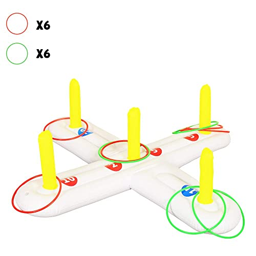Best Back Yard Game That Includes 1 Wooden Board 12 Hooks and 16 Rings Super Fun Lawn Outdoor Activity Safest Fun for Kids and Adults AGREATLIFE Wooden Ring Toss Board Game