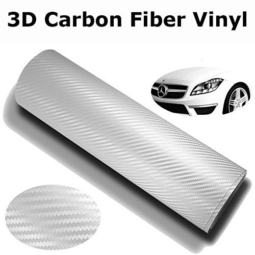 DIYAH 3D White Carbon Fiber Film Twill Weave Vinyl Sheet Roll Wrap DIY Decals 12 X 60 1FT X 5FT