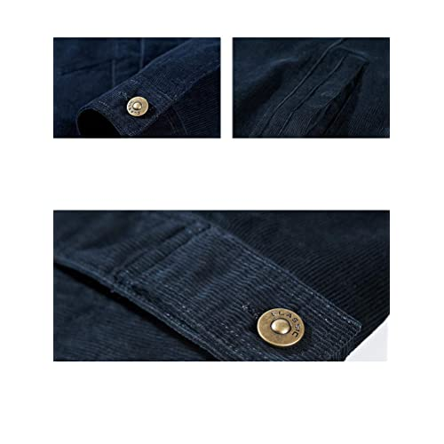 Chartou Men/'s Casual Slim-Fit Lapel Collar Button-Front Long Sleeve Denim Shirt
