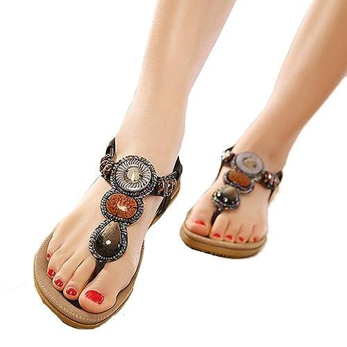 Women/'s Fashion Beach Beaded Clip Toe Flats Bohemian Herringbone Sandals Walking