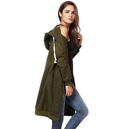 Romacci Womens Casual Zip up Hoodies Pockets Tunic Sweatshirt Long Hoodie Outerwear Jacket Dress Plus Size