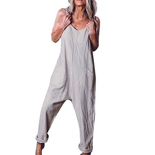 Women Plus Size Overalls Wide Leg Jumpsuits Baggy Bib Pants Casual Rompers Low Crotch Loose Fit Linen Trousers