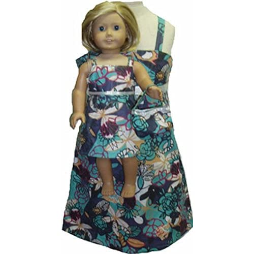 Doll Clothes Super store Blue Flower Ruffle Neckline Dress Fit Baby Alive Go Go and Sweet Tears Doll Clothes Superstore
