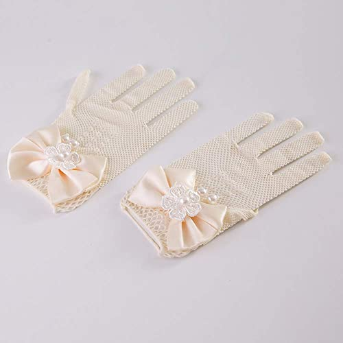 Castle Fairy Girls Lace Faux Pearl Fishnet Gloves Communion Flower Girl Bride Party Ceremony Accessories