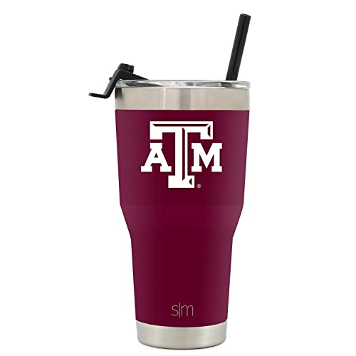 Texas A/&M University Simple Modern 30oz Cruiser Tumbler with Clear Flip Lid Gifts for Men Women Dad Fathers Day: NCAA Texas A/&M Aggies Coffee Travel Tumbler Stainless Steel