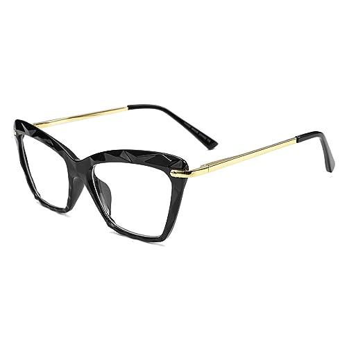 f1a8e7d89 FEISEDY Cat Eye Glasses Frame Crystal Non Prescription Eyewear Women B2440