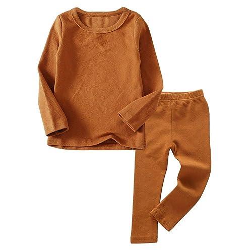 Toddler Boys Girls Thermal Underwear Long Sleeve T-Shirt Leggings 2Pcs Kids Winter Base Layer Set 12Months-8Years