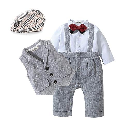 3-18 Months A/&J DESIGN Baby Boys Tuxedo Outfits Gentleman Romper Plaid Shirt Suit with Bowtie Size