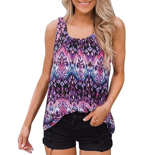 NREALY Blusa WomensFashion Ladies Summer Casual Sleeveless Floral Print Tank Tops