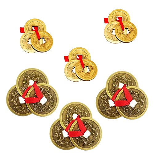 Divya Mantra Japanese Lucky Charm Turtle Pair /& Feng Shui Chinese Fortune I-Ching Dragon Coin Home Decor Ornaments Wealth Charm Amulet 3 Bronze Metal Coins with Hole /& Red Ribbon Knot Silver Gold