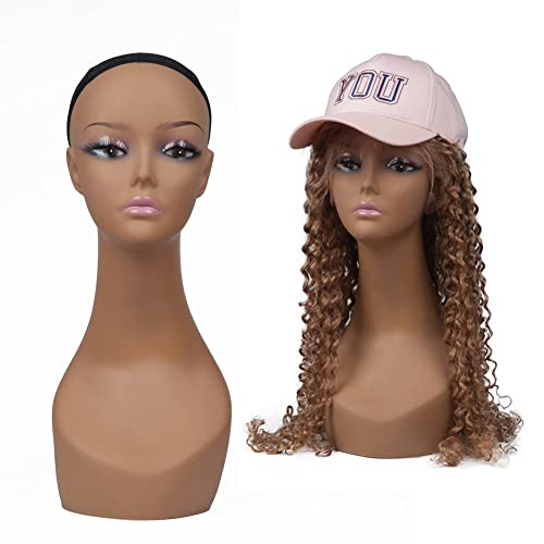 Wig Stand T Needle with Canvas Head 22inch FUGUIRENHAIR 22 Inch Canvas Block Head Set for Wig Display Making Wigs and Styling Mannequin Head with Mount Hole