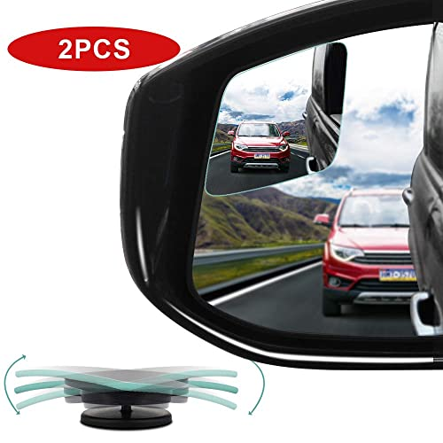 Kobwa Blind Spot Mirror 360/°Rotate for All Universal Vehicles Car 2 Pack Stick on Design HD Glass Square Wide Angle Rear View