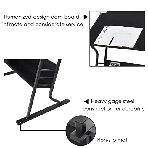 Sensational Buy Tangkula Drafting Desk Drawing Table Adjustable With Creativecarmelina Interior Chair Design Creativecarmelinacom