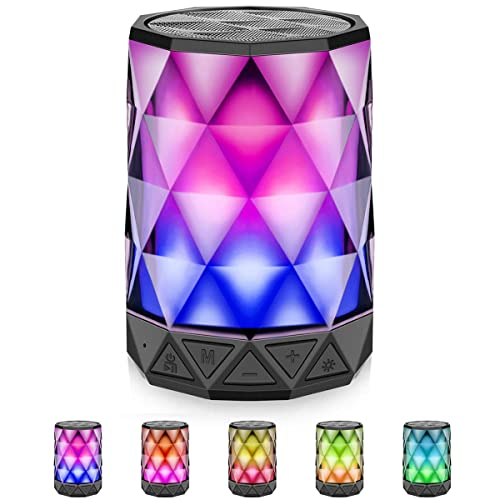 Portable Bluetooth LED Speakers With Lights Diamond Wireless Auto Color Changing