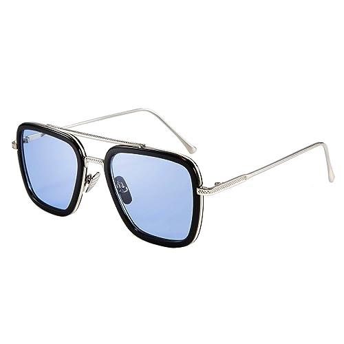 FEISEDY Retro Square Aviator Sunglasses Iron Man Tony Stark Sunglasses Trendy Downeyer Gradient Lens B2510