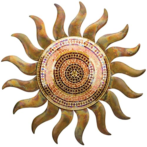 Buy Regal Art Gift 29 Inches X 1 5 Inches X 29 Inches Metalglass Flamed Copper Sun Wall Decor Online In Maldives B074v6gtzg