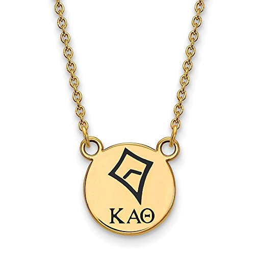 925 Sterling Silver Enamel Gold-Plated Official Kappa Alpha Theta Small Enl Pend Pendant Necklace Charm Chain with Secure Lobster Lock Clasp Width = 12mm