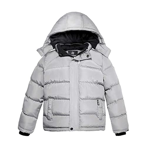 Wantdo Boys Winter Warm Fleece Coat Thickened Cotton Padding Jacket Windproof Outerwear Coat Outdoor Hooded Jacket