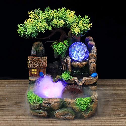 Tabletop Fountain Simulation Rockery/Indoor Fountain Waterfall Decor with Light Home Decor for Decorating Office Living Room or Bedroom,etc Atomizing Effect US Plug 110V