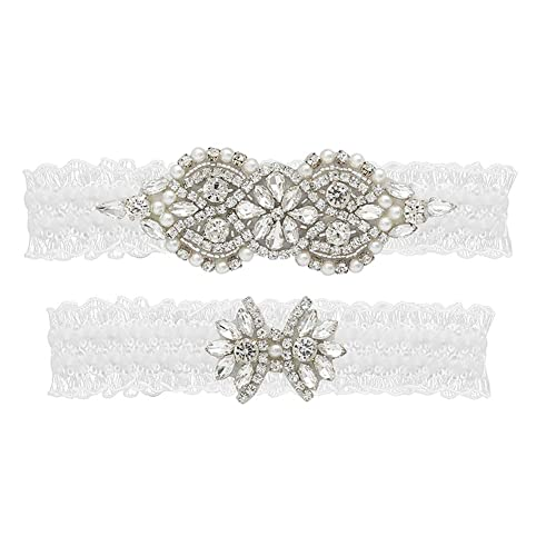 Yanstar Wedding Bridal Garter Set White Champagne Navy Lace For Bridal Accessories Rhinestone Garter Lace /…