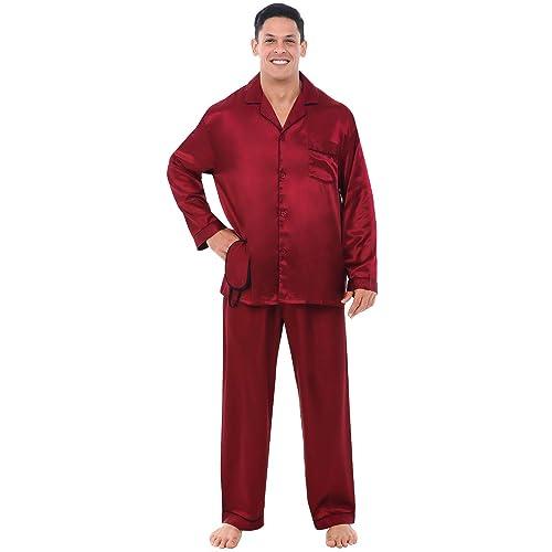 Tony /& Candice Herren Pyjama Lang Klassische Satin Schlafanzug