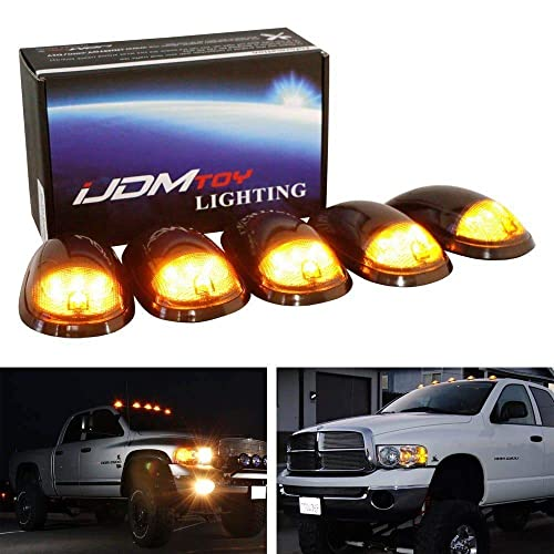 iJDMTOY 5pc Set Smoked Lens Amber Yellow LED Cab Roof Clearance Lights Compatible With 2017-up Ford F250 F350 F450 F550 Super Duty Truck