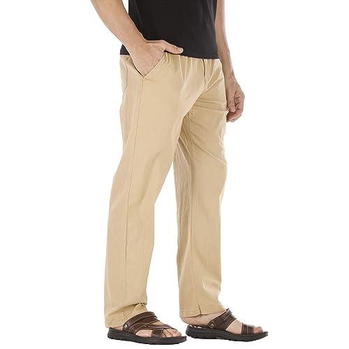 Durzasvo Mens Linen Casual Stretch Drawstring Pant Summer Lightweight Elestic Waist Beach Trousers