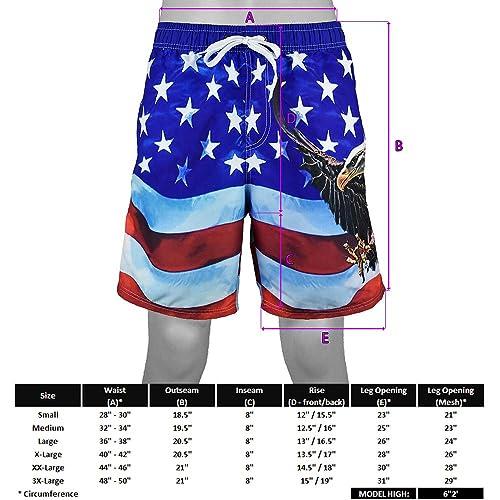 VBRANDED Mens American Flag Board Shorts
