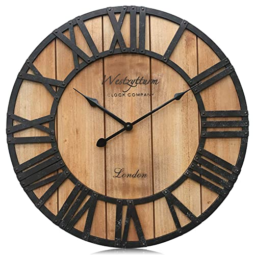 Buy Westzytturm Wall Clock Wood 18 Inch Large Farmhouse Wall Clocks Battery Operated Non Ticking Silent Quartz Rustic Antique Wooden Clocks For Living Room Decor Bedrooms Home Kitchen Office Brown Online In Maldives