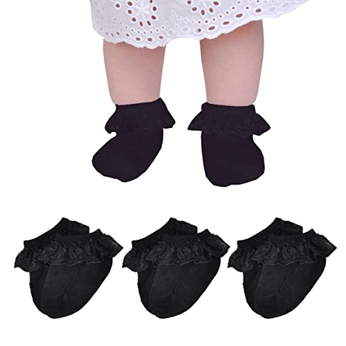 Epeius Baby-Girls Eyelet Turn Cuff Ruffle Lace Socks Triple Lace Dressy Socks Newborn//Infants//Toddlers 3//5 Pairs