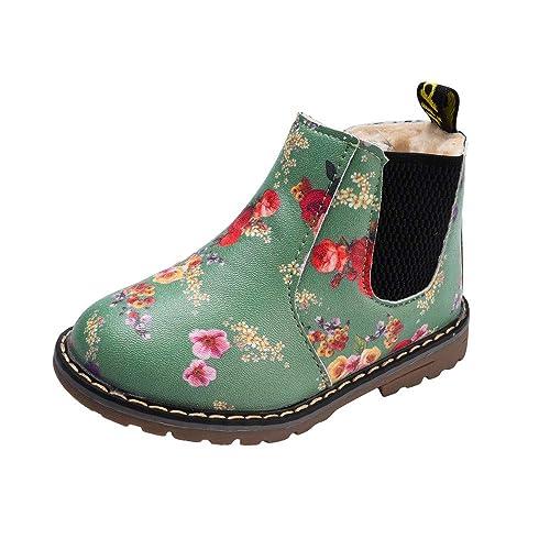 Goldweather Toddler Girls Boys Ankle Boots Baby Cartoon Pattern Elastic Band Anti-Slip Prewalker Soft Short Shoes