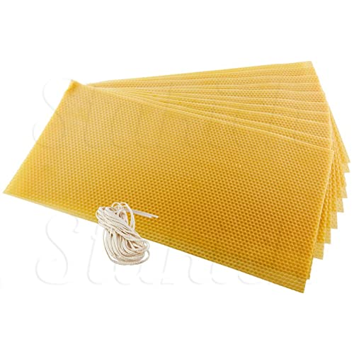 Approx. 8 1//8 x 16 3//4 10 Sheets 100/% Pure Beeswax /… - Top Quality Stakich CANDLE MAKING Beeswax Kit,