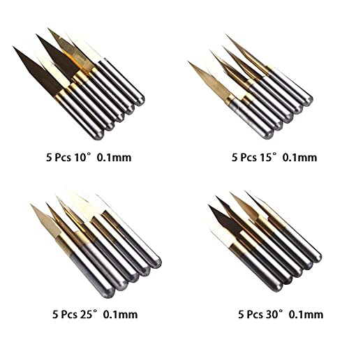 10 x Titanium Coated 3.175mm Carbide Engraving Bit 15/° CNC PCB Router Tool 0.3mm