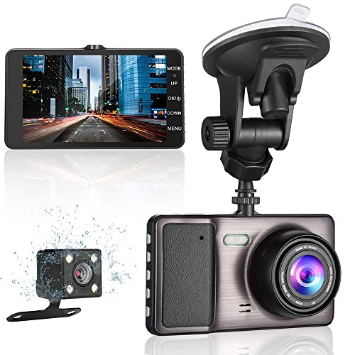 JD Dual dash cam 4.3 Mirror Dash Cam 1080P HD Car Video Recorder Front Rear Dual Lens Car Camera with G-Sensor Microphone Loop Recording SOS