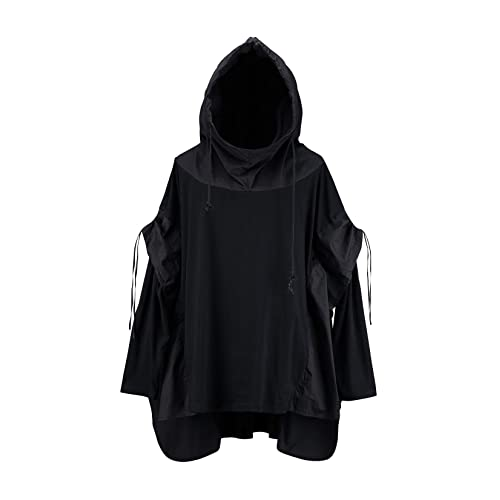 ByTheR Mens Batwing Sleeve Techwear Chic Black Cotton Layered Poncho Hoodie